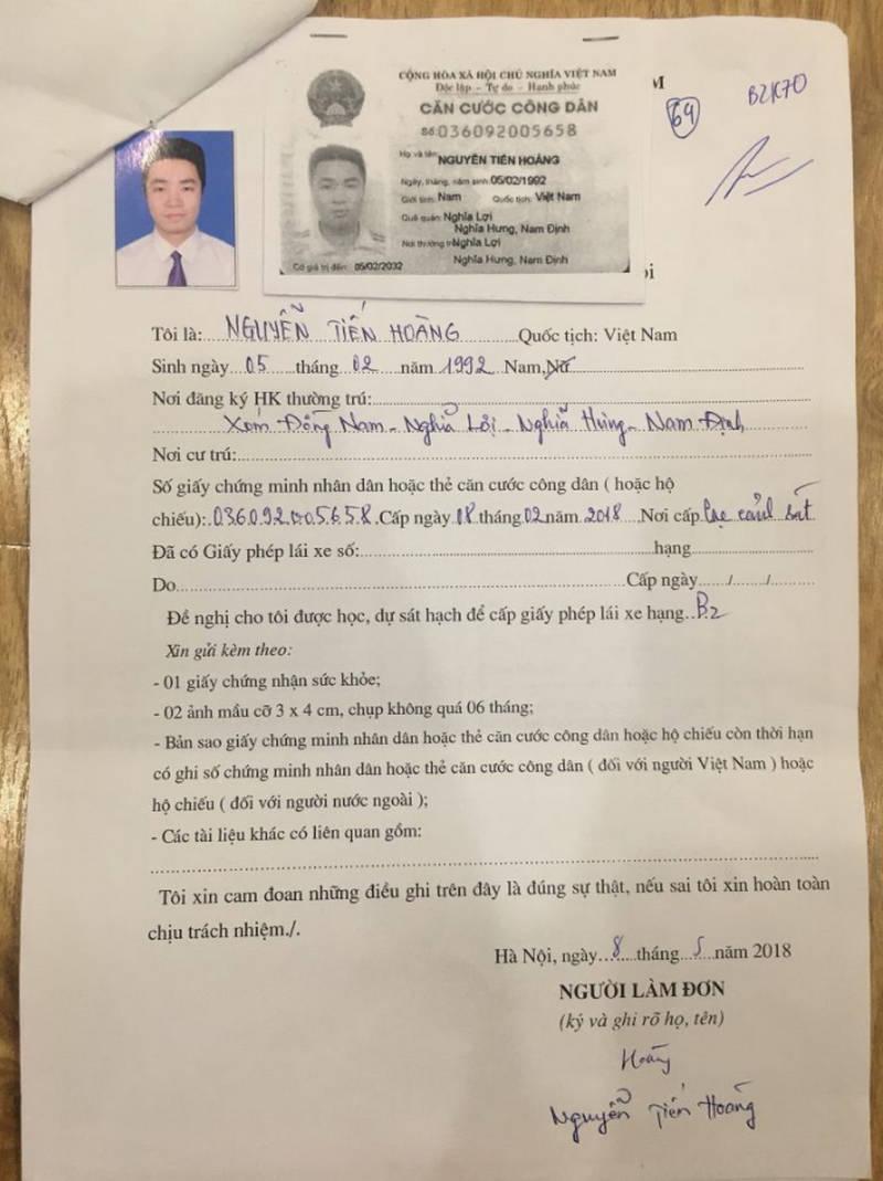 Bộ hồ sơ thi lấy giấy phép lái xe